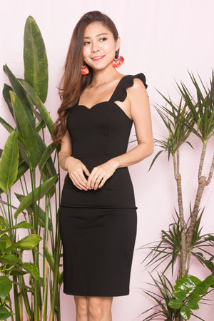 (BO) *PREMIUM* - CLARALIA FLUTTER MIDI DRESS IN BLACK - LBRLABEL SELF MANUFACTURED