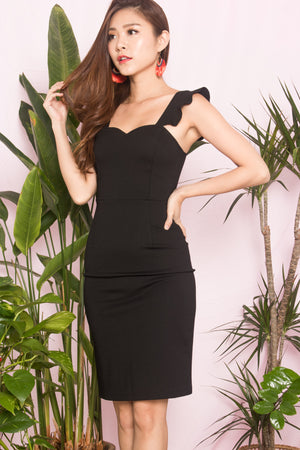 Load image into Gallery viewer, *PREMIUM* - CLARALIA FLUTTER MIDI DRESS IN BLACK - LBRLABEL SELF MANUFACTURED