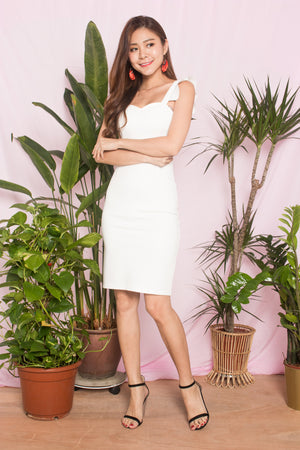 *PREMIUM* - CLARALIA FLUTTER MIDI DRESS IN WHITE - LBRLABEL SELF MANUFACTURED