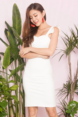 Load image into Gallery viewer, *PREMIUM* - CLARALIA FLUTTER MIDI DRESS IN WHITE - LBRLABEL SELF MANUFACTURED