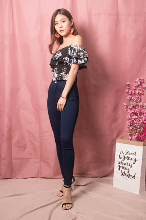 Luisee Floral 3 Ways Top in Black