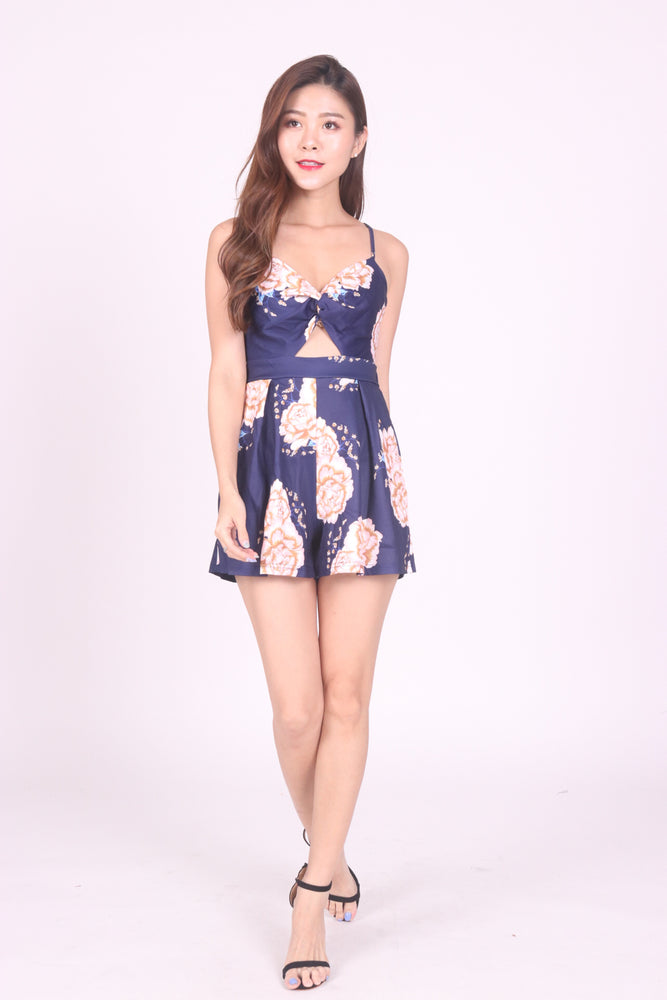Load image into Gallery viewer, Aliceson Floral Ribbon Romper in Navy