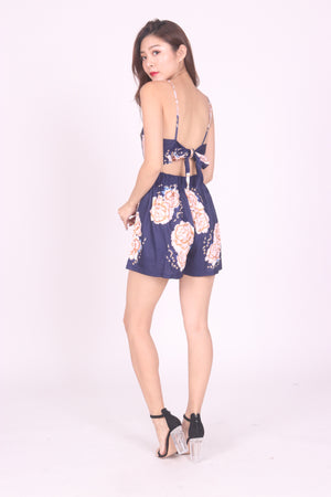 Aliceson Floral Ribbon Romper in Navy