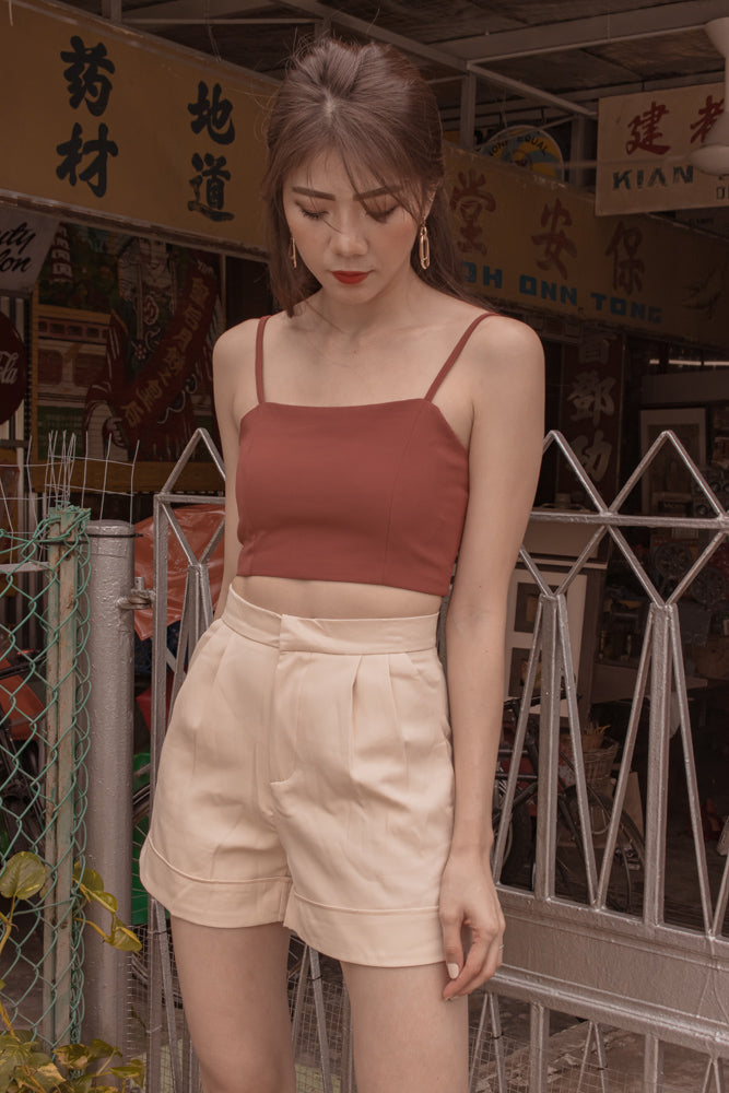 Load image into Gallery viewer, *PREMIUM* - Rizlia Cami Spag Top in Rust - Self Manufactured by LBRLABEL