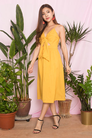 Julea Ribbon Dress in Marigold Yellow