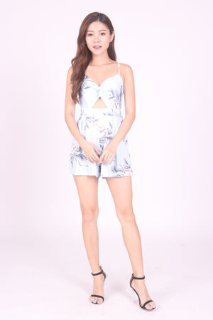 Aliceson Floral Ribbon Romper in Blue