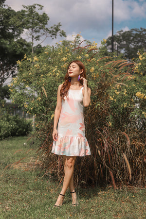 * PREMIUM * Parislia Brushstroke Dress in Peach - Self Manufactured by LBRLABEL
