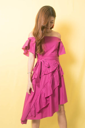 Marissa Flutter Dress In Magenta