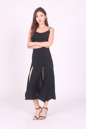 Load image into Gallery viewer, * LUXE * Staellie Slit Dress in Black