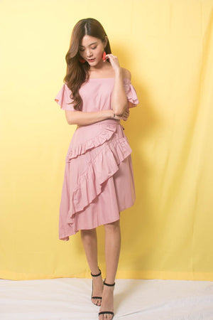Marissa Flutter Dress In Pink