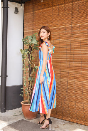 *PREMIUM* Jujulia Flutter Midi Dress in Multi Stripes - Self Manufactured by LBRLABEL