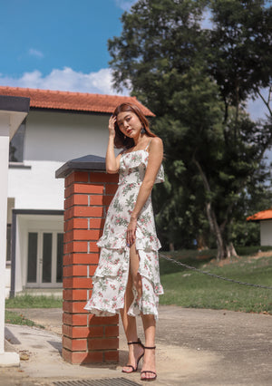 *PREMIUM * Eugilia Floral Layer Dress in White - Self Manufactured by LBRLABEL