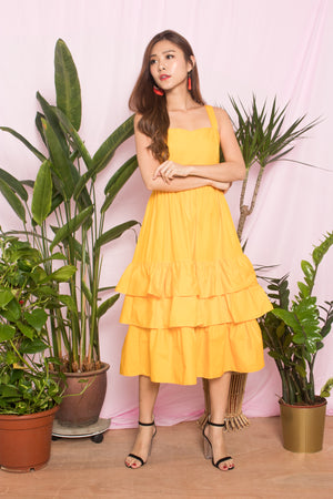 OPHELIA FLARE DRESS IN YELLOW