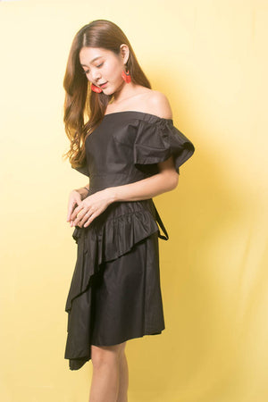 Marissa Flutter Dress In Black