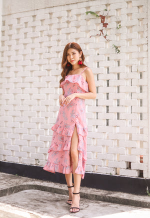 *PREMIUM * Eugilia Floral Layer Dress in Pink - Self Manufactured by LBRLABEL