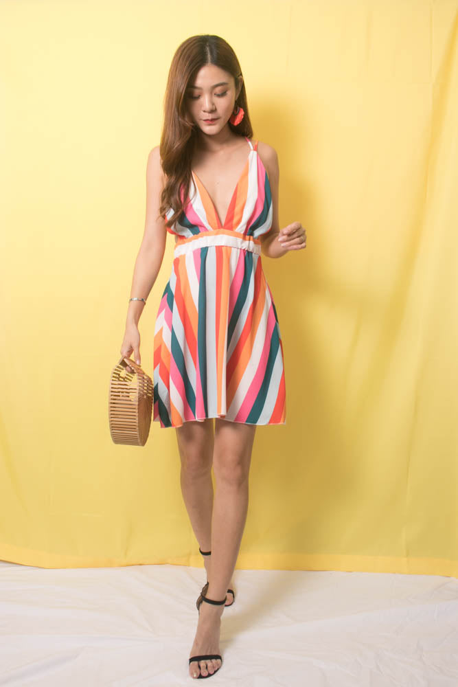 Load image into Gallery viewer, Rainbow Stripes Cross Back Dress