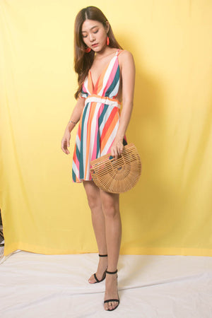 Rainbow Stripes Cross Back Dress