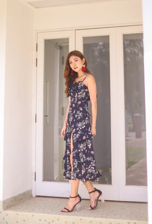 Load image into Gallery viewer, *PREMIUM * Eugilia Floral Layer Dress in Navy - Self Manufactured by LBRLABEL