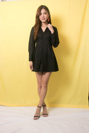 Joey Sleeved Dress in Black