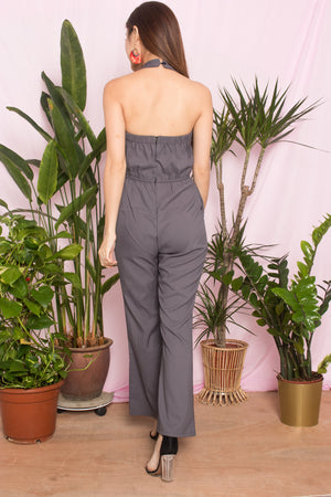 Aecia Halter Jumpsuit in Grey