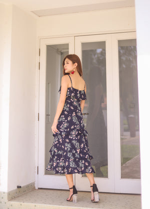 *PREMIUM * Eugilia Floral Layer Dress in Navy - Self Manufactured by LBRLABEL
