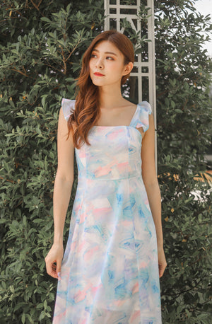 *PREMIUM* Jujulia Flutter Midi Dress in Pastel Blue - Self Manufactured by LBRLABEL