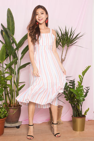 Chloey Stripes Dress in Pink