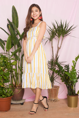 Chloey Stripes Dress in Yellow