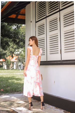 *PREMIUM* Jujulia Flutter Midi Dress in Pastel Pink - Self Manufactured by LBRLABEL