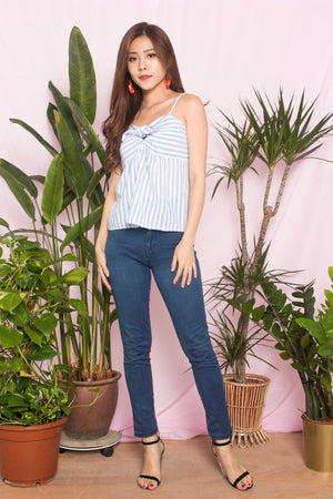 Cheryl Stripes Babydoll Top in Blue