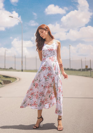 * PREMIUM * - Lovilia Floral Maxi Dress in White - Self Manufactured by LBRLABEL