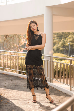 Jaelle Crochet Maxi Dress in Black