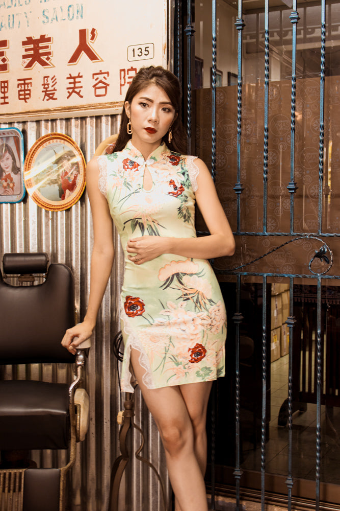 Load image into Gallery viewer, * LUXE * - Huang Floral Cheongsam in Mint