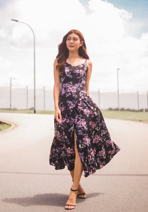 * PREMIUM * - Lovilia Floral Maxi Dress in Black - Self Manufactured by LBRLABEL