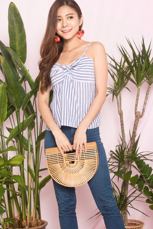 Cheryl Stripes Babydoll Top in Navy