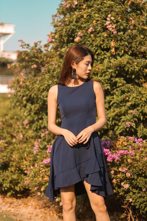Carissa Flare Flutter Dress in Navy