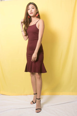 * PREMIUM * TALIA CAMI MERMAID DRESS IN BURGUNDY - SELF MANUFACTURED BY LBRLABEL