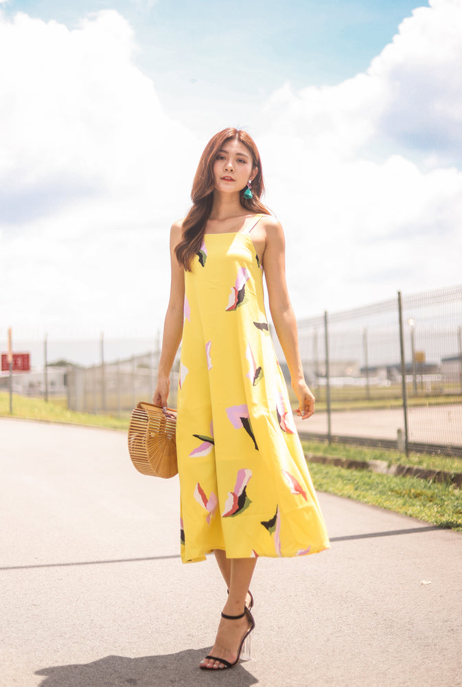*PREMIUM* Megalia Printed Midi Dress in Yellow - Self Manufactured by LBRLABEL