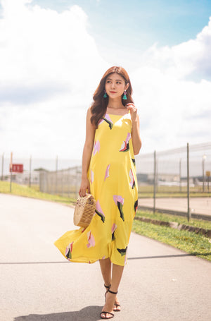 Load image into Gallery viewer, *PREMIUM* Megalia Printed Midi Dress in Yellow - Self Manufactured by LBRLABEL