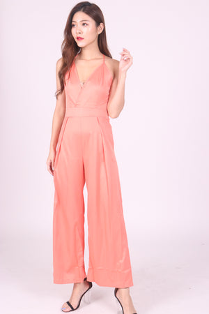 Acka Satin Jumpsuit in Peach
