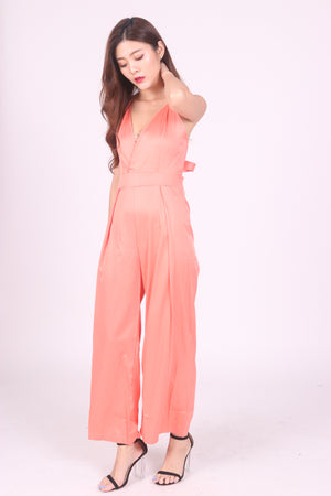 Load image into Gallery viewer, Acka Satin Jumpsuit in Peach