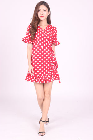 Akelyn Polkadot Dress in Red