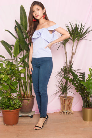 Aneera Gingham Two Ways Top in Blue