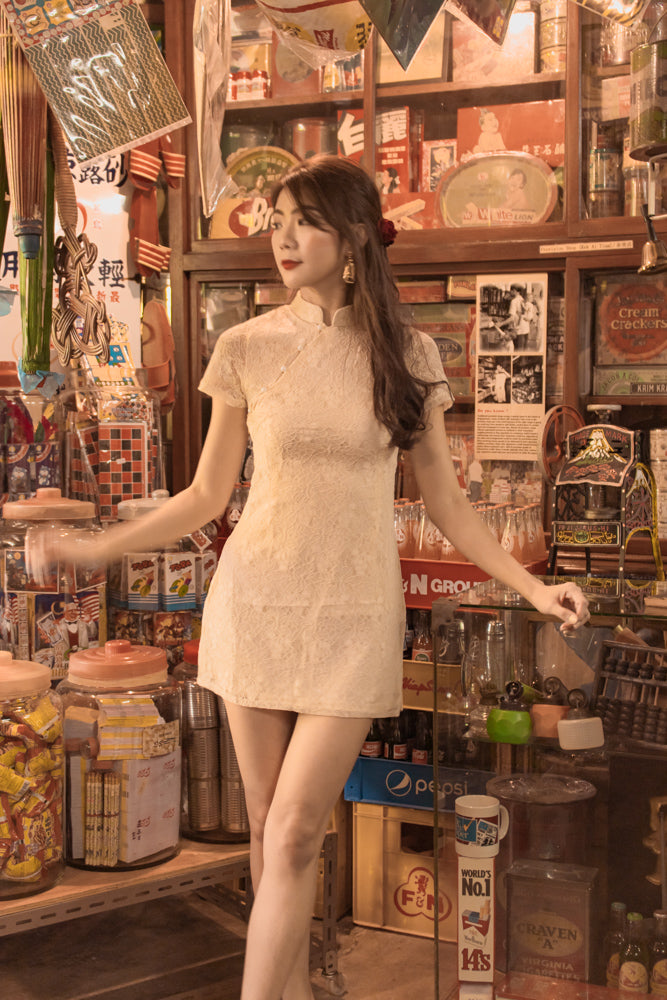 Load image into Gallery viewer, *LUXE* - Yujia Crochet Lace Cheongsam Dress in Cream