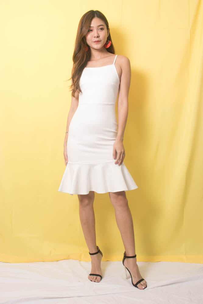 Load image into Gallery viewer, * PREMIUM * TALIA CAMI MERMAID DRESS IN WHITE - SELF MANUFACTURED BY LBRLABEL