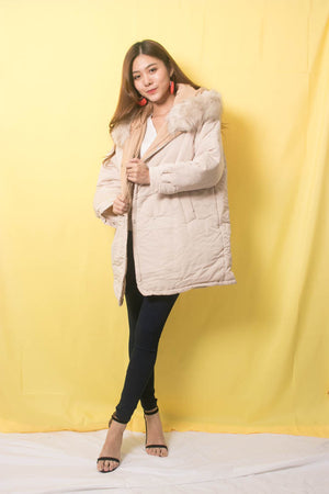 * PREMIUM * Zewa Fur Coat in Cream