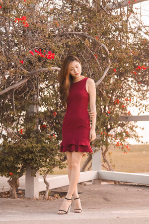 Clevie Flutter Dress in Burgundy