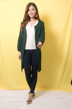 Sora Oversized Knit Outerwear in Emerald Green