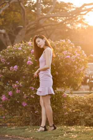 Clevie Flutter Dress in Pink
