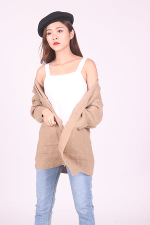 Aela Knit Cardigan in Khaki